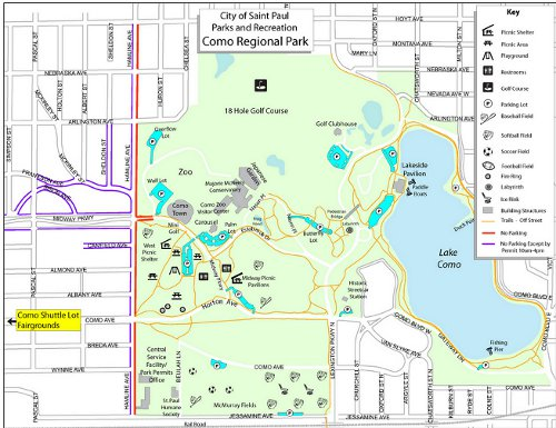 Map to Walk Start at Como Lake Pavilion